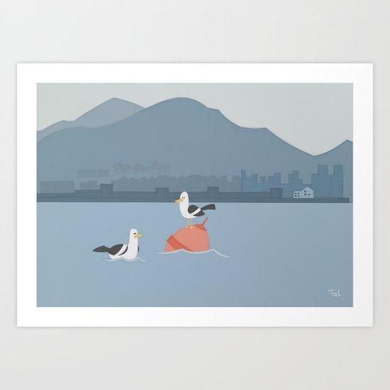 Bird Buoy Beach Wall Art, Beach Art Nursery Decor, Nursery Wall Art for Boys Room Art Print
