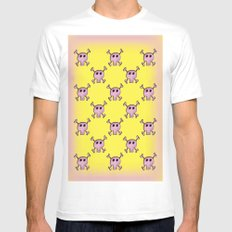 Pink Lemonade Punk Skulls MEDIUM White Mens Fitted Tee