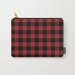 90's Buffalo Check Plaid in Red and Black Carry-All Pouch