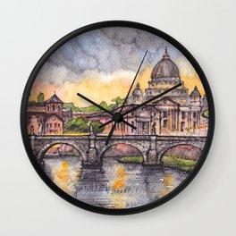 Rome ink & watercolor illustration Wall Clock