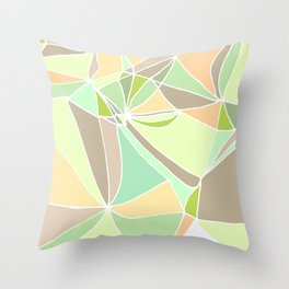 Pastel mosaic  Abstract artwork  Mint peach beige Throw Pillow