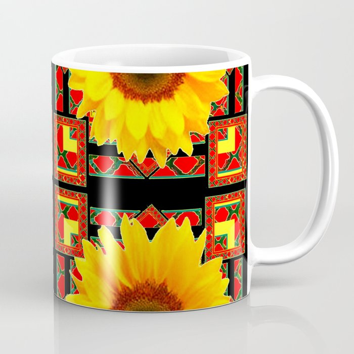 66e1d91e09c QUATRE WESTERN BLACK & RED ART DECO YELLOW SUNFLOWER Coffee Mug by  sharlesart