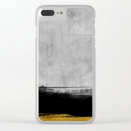Black and Gold grunge stripes on modern grey concrete abstract backround I - Stripe - Striped Clear iPhone Case