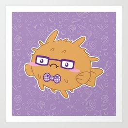 Nerdy Blowfish Art Print