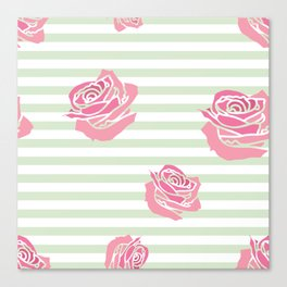 Vintage Rose Pattern on Soft Green Stripe Canvas Print
