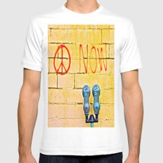 Peace Now! MEDIUM Mens Fitted Tee White
