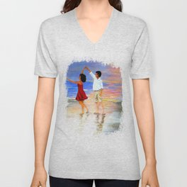Dancing at the Beach Unisex V-Neck
