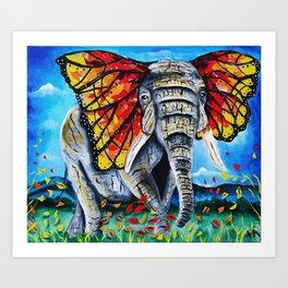 elephant painting, butterfly, monarch, fall leaves, elephant artwork, wall art, autumn Art Print