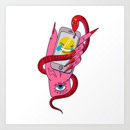 witch phone magic snake cry emoji Art Print