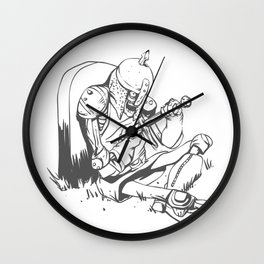 Illustration of a knight  wounded during a medieval battle Wall Clock