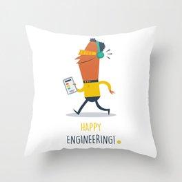 Happy Engineering Throw Pillow