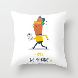 Happy Engineering Throw Pillow