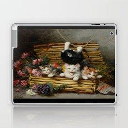 cute kitten 2- Leon Huber - A basket full of cat - pet,whikers,cat,kitty,kitten Laptop & iPad Skin
