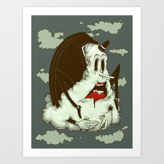 Creep Cloud Face Melt Art Print