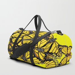 YELLOW MONARCH BUTTERFLY DOG PILE OF WINGS Duffle Bag