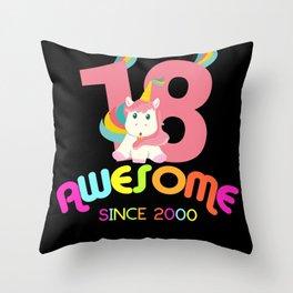 Awesome Since 2000 Unicorn 18th Birthdays Anniversaries Throw Pillow