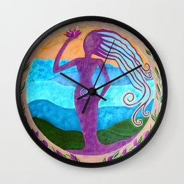 She Heals - Purple Goddess Art Nouveau Style Painting Wall Clock