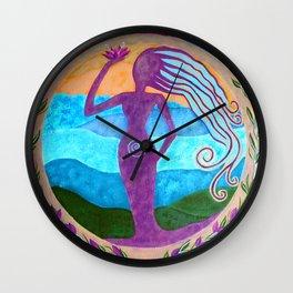She Heals - Purple Goddess Art Nouveau Style Painting Wall Clock