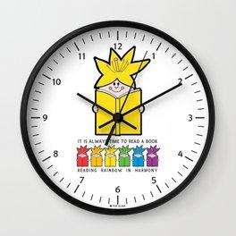 Reading Rainbow in Harmony - Yellow Wall Clock