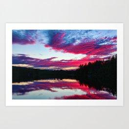 Purple Sunset on the Scituate Reservoir, Rhode Island Art Print