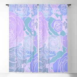 Preppy Purple and Seafoam Green Abstract Contemporary Romantic Roses Blackout Curtain