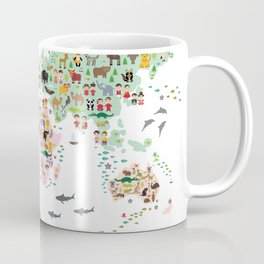 Cartoon animal world map for children and kids, Animals from all over the world Coffee Mug