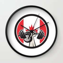 Hand Lifting Barbell Kettlebell Canada Flag Wall Clock