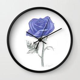 Rose 04 Botanical Flower * Silver Sterling Blue Rose: Love, Honor, Faith, Beauty, Devotion & Wisdom  Wall Clock