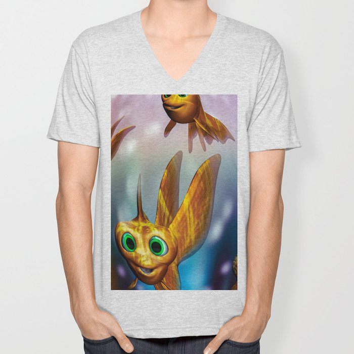 Three little fishies and a mama fishie too Unisex V-Neck