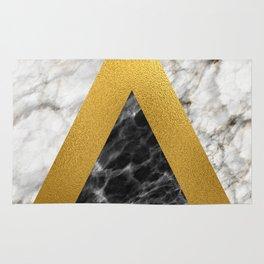 Gold foil white black marble #2 Rug