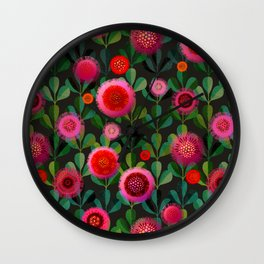Bright Blooms Hand-Print Floral - Dark Wall Clock