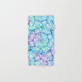 Iridescent Aqua and Purple Watercolor Mandala Hand & Bath Towel
