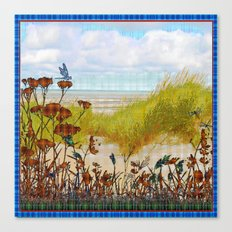 Plaid Beachscape with Dragonflies Canvas Print
