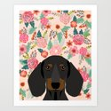 Dachshund florals cute pet gifts black and tan dachshund gifts for dog lover with weener dog by petfriendly