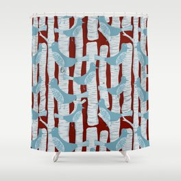 For the Birds and Birch Trees Shower Curtain