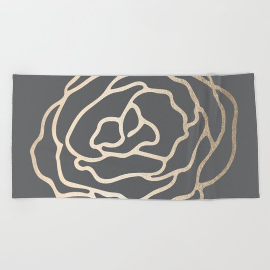 Rose White Gold Sands on Storm Gray Beach Towel