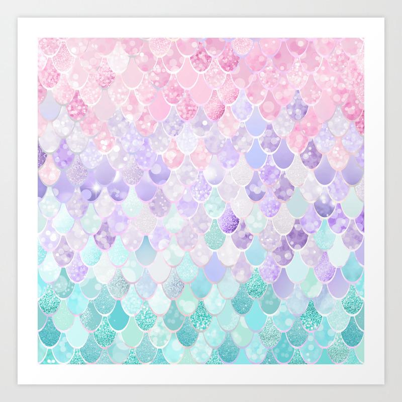 Cute Mermaid Pattern Light Pink Purple Teal Art Print By Meganmorrisart Society6