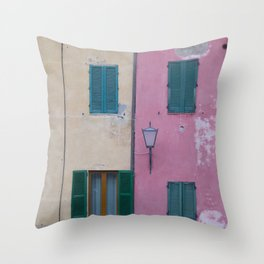 BLACK OUTDOOR SCONCE ON PINK PAINTED WALL Throw Pillow