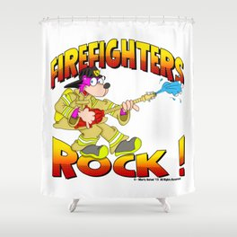 FIREFIGHTERS 65 HALFTONES Shower Curtain