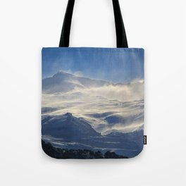 """""""Brave mountains"""". Into the windy storm Tote Bag"""