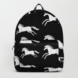 White horses on black Backpack