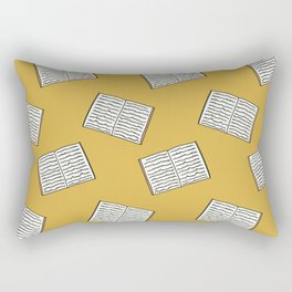 Open Book Pattern (Mustard) Rectangular Pillow