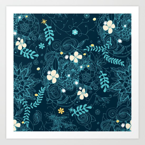 Dark floral delight Art Print