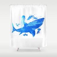 shark Shower Curtains featuring Shark by Corina Rivera Designs