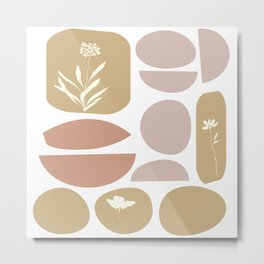 Boho Organic Shapes and Floral Illustrations in Desert Clay and Sand Colors Metal Print