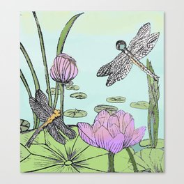 Dragonfly and lotus Canvas Print