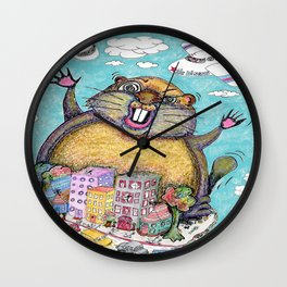 Giant Punxsutawney Phil (Philzilla) Attacks Pennsylvania! Wall Clock
