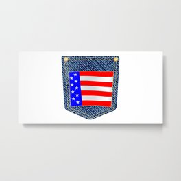 Stars and Stripes Denim Pocket Metal Print