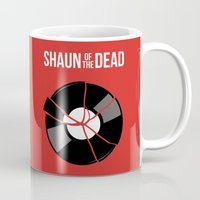 shaun of the dead Mugs featuring Shaun of the Dead - Skull by Nick Kemp
