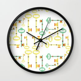 Trendy Modern Abstract Antique Key and Lock Print  Wall Clock